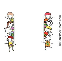 niños, bandera, feliz