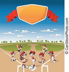 niños, beisball, juego, caricatura