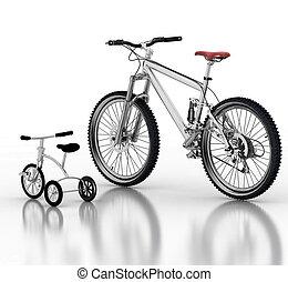 niños, bicicleta, contra, un, deporte