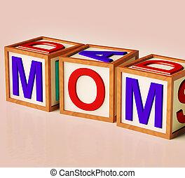 niños, bloques, ortografía, mamá, como, símbolo, para,...