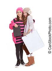 niños, bolsas de compras