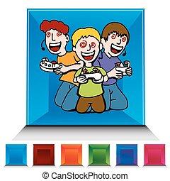 niños, botón, juego, conjunto, vídeo, adicto, piedra ...
