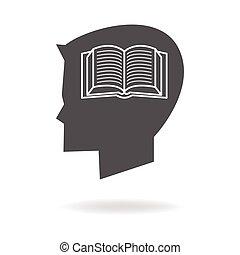 niños, cabeza, con, libro, icono