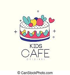 niños, café, logotipo, original, brillante, insignia, con, pastel, etiqueta, para, childrens, y, alimento bebé, vector, ilustración, en, un, fondo blanco