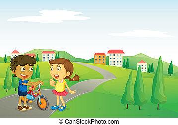 niños, camino