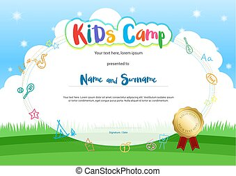 niños, campo verano, diploma, o, certificado, con, caricatura, estilo, plano de fondo