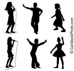 niños, canto, bailando