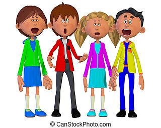 niños, canto