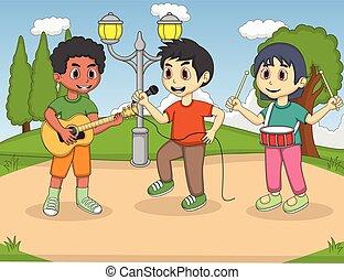 niños, canto, en el parque