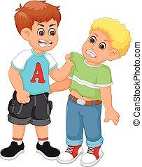 niños, caricatura, lucha