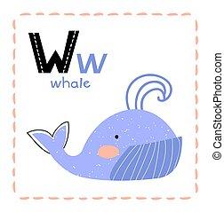 niños, carta, caricatura, w, alfabeto, ballena