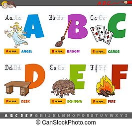 niños, cartas, f, caricatura, alfabeto, educativo