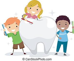 niños, cepillado, un, diente