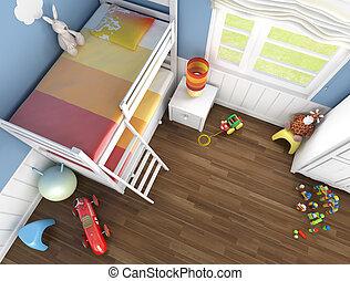 niños, cima, habitación, vista