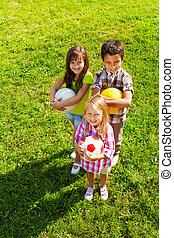 niños, cima, pelotas, deporte del equipo, vista