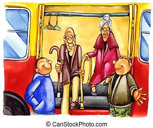 niños, clase, parada, autobús