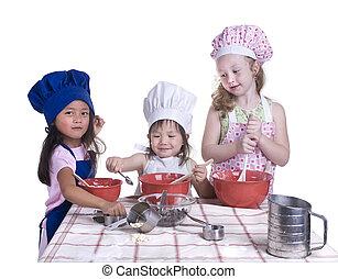 niños, cocina
