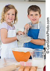 niños, cocina, galletas, juntos, hornada