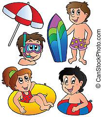 niños, colección, natación