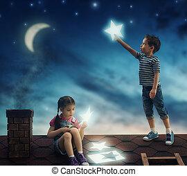 niños, colgado, el, estrellas