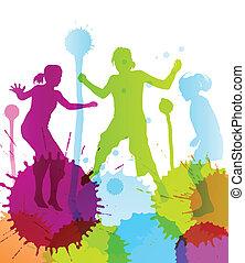 niños, colorido, brillante, saltar, salpicaduras, plano de ...