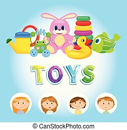 niños, colorido, brillante, vector, juguetes, juguetes