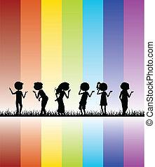 niños, colorido, siluetas, plano de fondo