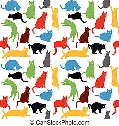 niños, colorido, siluetas, seamless, gatos, plano de fondo