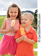 niños comer, chupetes helado