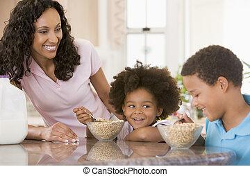 niños comer, desayuno