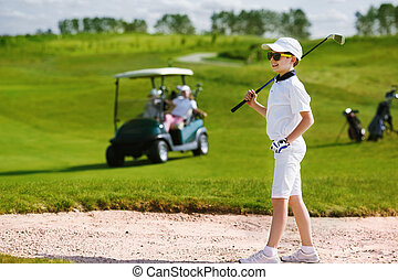 niños, competición del golf