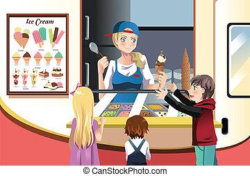 niños, compra, helado