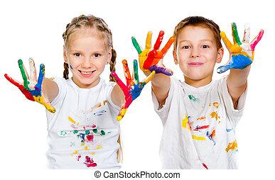 niños, con, 0b, 0bhands, en, pintura