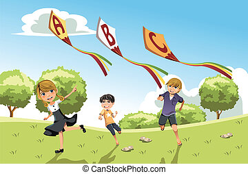 niños, con, alfabeto, cometas