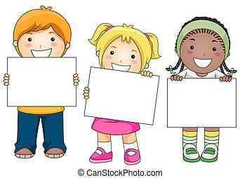 niños, con, blanco, tabla