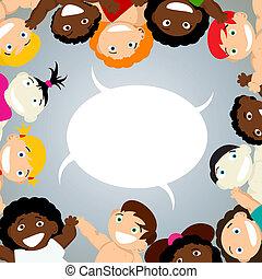 niños, con, burbuja del discurso