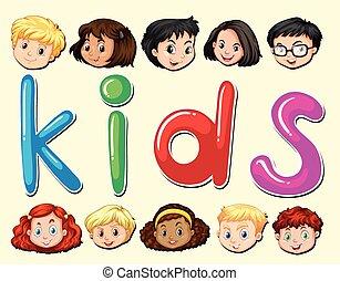 niños, con, carita feliz