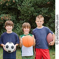 niños, con, deportes, pelotas