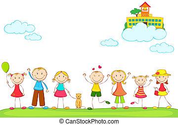 niños, con, escuela, en, nube