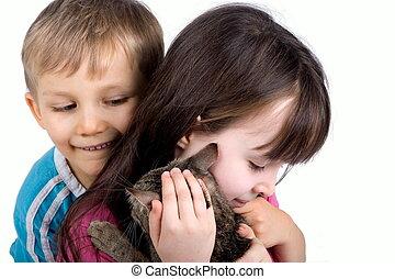 niños, con, gato