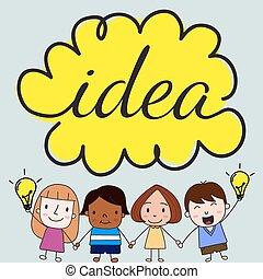 niños, con, idea, concepto