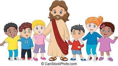 niños, con, jesucristo
