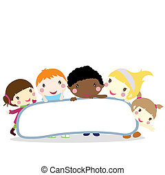 niños, con, tabla, plano de fondo
