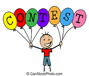 niños, concurso, desafío, medios, globos, capacidad ...