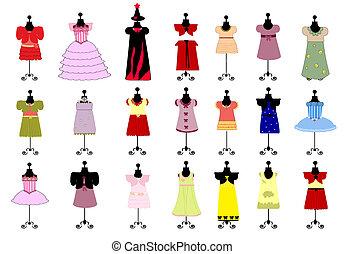 niños, conjunto, colorido, vestidos