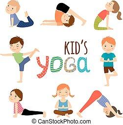 niños, conjunto, yoga