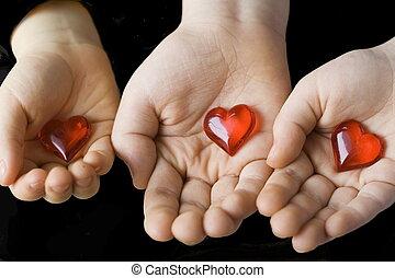 niños, corazones
