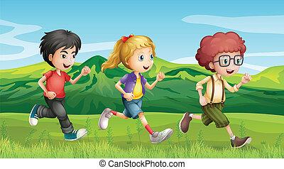 niños, corriente, a través de, el, colinas