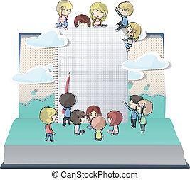 niños, cuaderno, varios