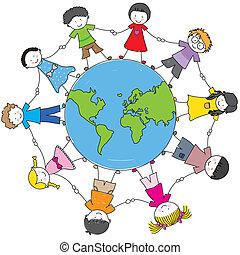 niños, de, diferente, culturas